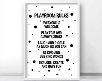 Playroom Print, Digital Download Playroom Decor, Printable Playroom Rules, Monochrome Nursery Print, Black White Kids Print, Playroom Art
