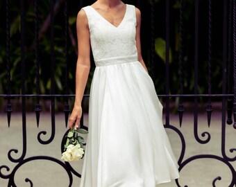 Lace Bridesmaid Dress Tea Length - Madeleine by Matchimony