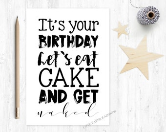 girlfriend birthday card, boyfriend birthday card, eat cake and get naked, rude birthday card, adult birthday card, naked birthday card