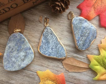 1pc Raw Blue Imperial Jasper Emperor Stone Pendant With Electroplating Gold Edge Green Irregular Loose Beads