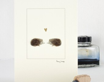 Hedgehogs in Love Card, fluffy hedgehogs greeting card, Valentine's Day, Wedding card, anniversary card with hedgehogs