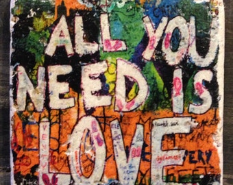 All You Need Is Love Beatles Graffiti Coaster or Decor Accent
