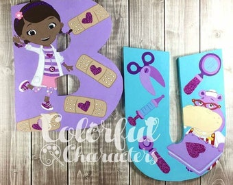 Doc McStuffins Wall letters, room decor, nursery decor, hand painted letters, made to order