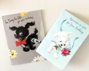 Vintage 1940s Dog Belated Birthday Cards Set of Two Vintage Dog Birthday Card