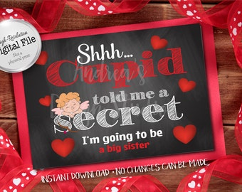 Cupid Told Me A Secret, Big Sister Sign, New Baby Announcement, Pregnancy Announcement, Instant Download, Digital Files