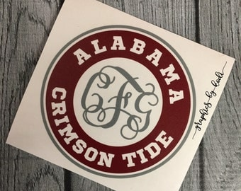 Alabama Crimson Tide Decal - Monogrammed Crimson Tide Decal - University of Alabama - Sticker