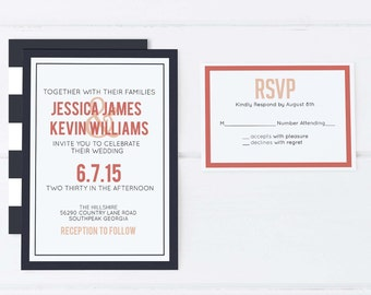 Stripe Wedding Invitation, Navy Wedding Invitation, Coral Wedding Invitation, Coral and Navy Wedding Invitation, Modern Wedding Invitation