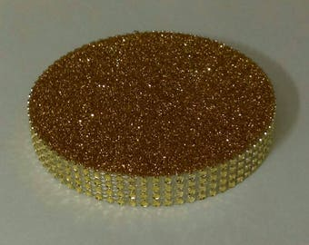"""Set of 5 Centerpiece Bases (5"""") - Gold Bling - Wedding Quinceanera Candy Buffet Anniversary"""