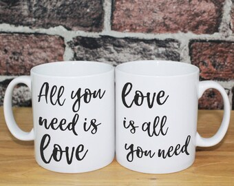 Personalised Gift Mugs | All You Need Is Love | Anniversary wedding engagement new home gift for couple