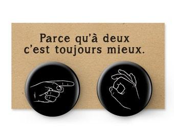 "Set of two button pins.Pinback Button.Accessories.1.5"" Button Pin.Boyfriend/Girlfriend gift.Humoristic pin-back buttons.StValentine's day"
