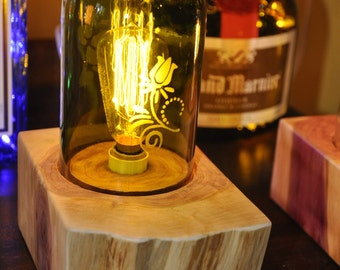 Cedar Candelabra Accent Lamp with Wine Bottle Etched Rose Globe and Edison Bulb