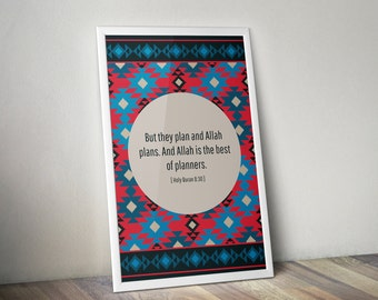 Customizable quote Islamic Wall Art Print Quranic Quote in Kilim Design