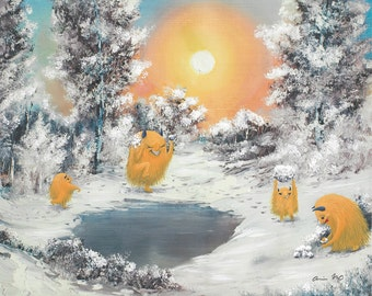 "8x10 ""Snowball Fight!"" - Creatures-in-Thrift PRINT"