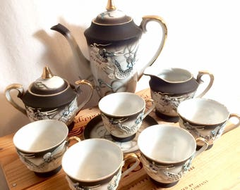 11 Piece Vintage Japanese Dragonware Porcelain Tea Set with Moriage & 24Kt Gold Accents, c. 1930's - 1940's