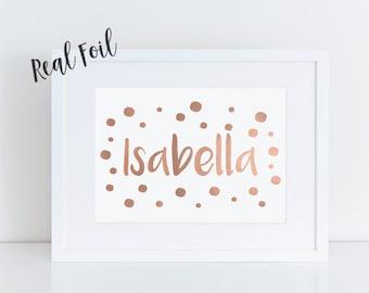 Custom foil print, pink foil, name print, child's name, nursery art, custom baby print, metallic foil wall art, gold foil print