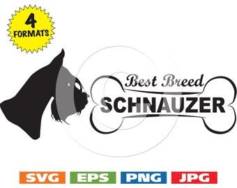 "Schnauzer Head ""Best Breed"" with Bone - svg cutting files PLUS eps/vector, jpg, png - 300dpi"