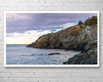 Violet art print, living room picture, shoreline wall art, framed photography, canadian landscape, rocky cliffs, artist made, ready to hang