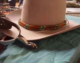 Glass Pony Beads and Horn Pipe Beads Hat Band