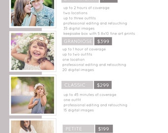 Photoshop Pricing Template / PSD FILE / Digital Download / Pricing Guide / Session Pricing / Packages
