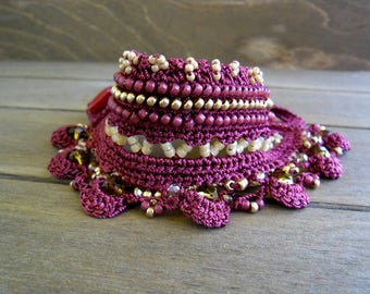 Freeform Crochet Bracelet Cuff with Japanese beads in Red, Crochet Jewelry - Unique Gift for Her