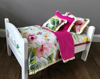 American Girl Doll Bed pink yellow floral