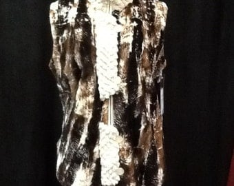 Marble mix print sheared beaver vest
