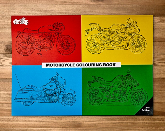 Featured listing image: Motorcycle Coloring Book - 33 Coloring Pages - Motorcycle Illustrations - A4 - Adult Colouring