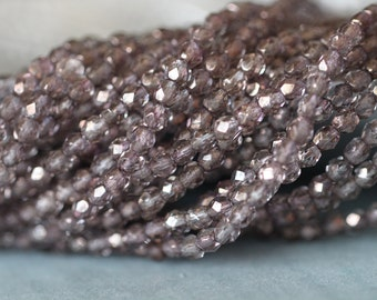 SUMMER SALE 4mm (50), Rosaline, Moon Dust, Faceted, Round, Fire Polish, Czech, Glass Beads, 50 pieces