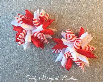 Christmas Hair Bows | Candy Cane Hair Bows | Holiday Hair Bows | Christmas Korker Bows | Red and White Christmas Bows | Christmas Bows