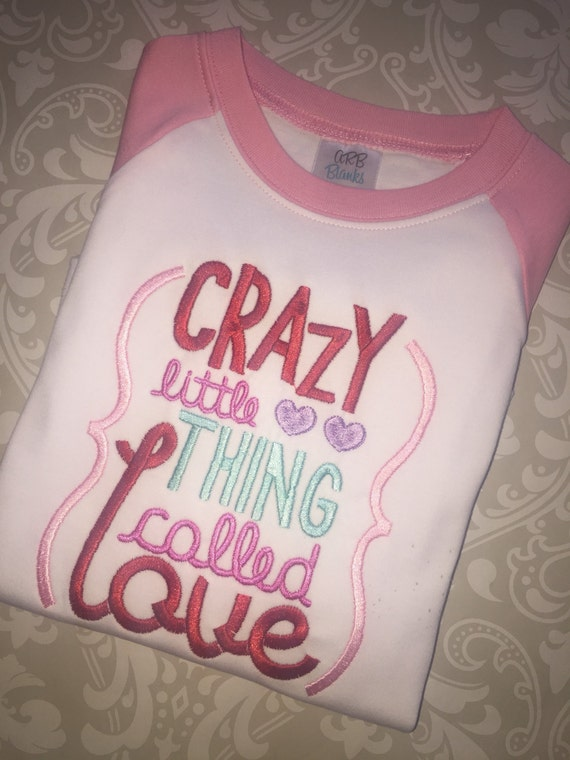 Items similar to girls raglan valentine shirt crazy