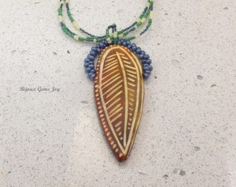 Feathered Waves, Polymer Clay, Glass Drop Beads, Seed Beads