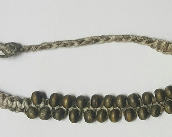 Hemp Bracelet. Men's Hemp Bracelet. Beaded Bracelet. Camouflage hemp bracelet with 22 green wood beads.