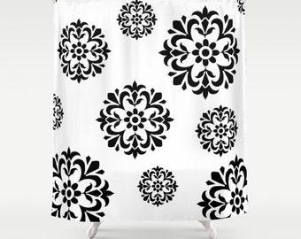 Flowers Shower Curtain - Black White Shower Curtain , Bathroom Decor , Bathroom Curtain , Fabric Bath Curtain , Dorm Room Shower ,