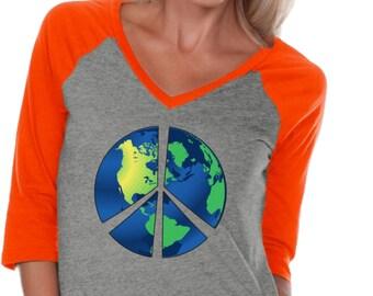 Ladies Peace Shirt Blue Earth 3/4 Sleeve V-Neck Raglan Shirt BLUEEARTH-WJP0568
