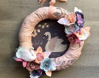 Modern Spring Wreath, Modern Girl Wreath, Easter Wreath, Baby Girl Wreath, Spring Nursery Decor, Girl Wreath, Fabric Wreath, Felt Flowers