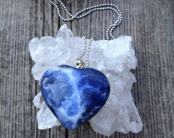 Sodalite Heart pendant. Includes necklace.Healing stone.