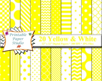 Yellow Digital Paper Pack, 12x12 Scrapbook Paper, Yellow Paper Instant Download Digital File, Yellow Patterned Paper for Scrap booking
