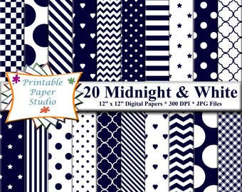 Midnight Blue Digital Paper Pack, Blue Paper for Scrapbooking, Instant Download Dark Blue Digital Scrap Book Paper 12x12, Digital File