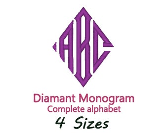 Monogram Diamant Font Embroidery design. (4 sizes)