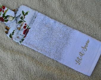 Winter Hanging Kitchen Towel, Christmas Kitchen Towel, Let It Snow Hanging Kitchen Towel, Hanging Towel from Oven Door,Kitchen Hand Towel