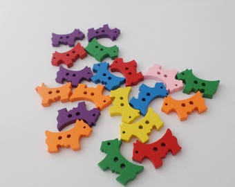 20 dog shape wooden buttons 2 holes for sewing crafts