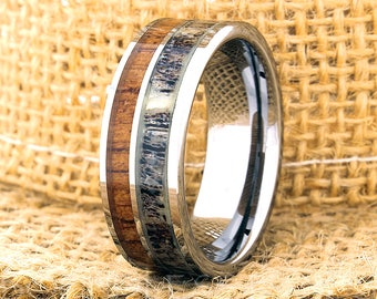 Tungsten Ring Tungsten Wedding Ring Band Mens Women's Wedding Bands Red Wood and Antler Inlay Ring Promise Anniversary 8mm Matching Ring Set