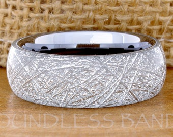 Meteorite Inlay Ring Meteorite Tungsten Wedding Ring Mens Women's Wedding Ring Promise Anniversary Engagement Ring Dome Matching Ring Set