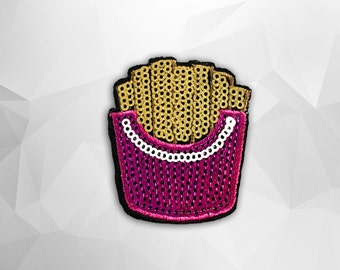 French Fries Sequin Iron on Patch (M) - Sequin French Fries, Glitter,Sparkly Applique Iron on Patch - Size 5.1x5.5 cm