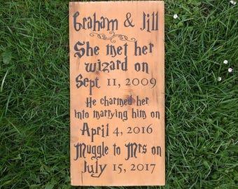 Wizard wedding sign, geekery, magic wedding gift, romantic love quotes, wall decor, plaque