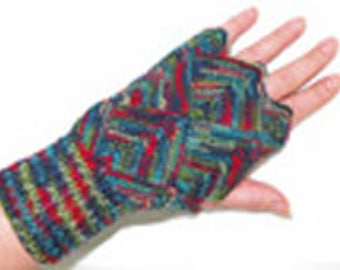 Knitting pattern fingerless gloves adult size can be made with any 4ply Opal yarn 3mm dp needles for