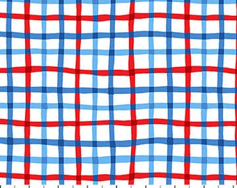 Red, White and Blue Plaid Fabric / First Mate, Northcott Studio Fabrics 21627 / Boating Fabric / By The Yard and Fat Quarters