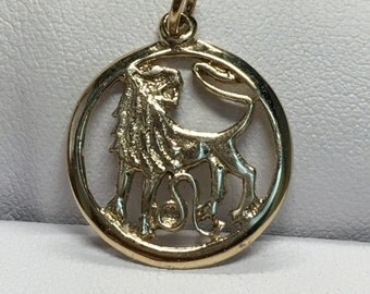 Vintage Leo Zodiac Pendant 10K Gold Leo Astrology Pendant, ,The Sign Of The Lion , Pierced Design