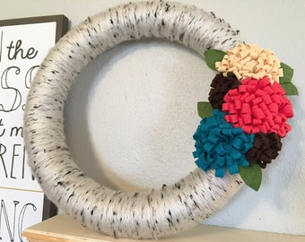 "Spring Floral Yarn Wreath-two sizes to choose from- 10"" & 14"""