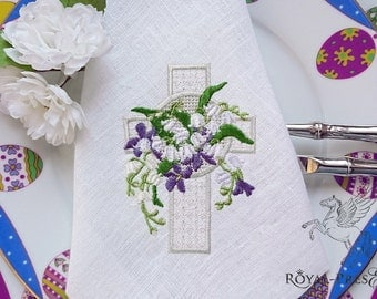 Machine Embroidery Design Lace Easter Cross with lilies of the valley - 2 sizes